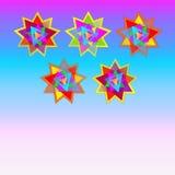 Dirigez cinq étoiles multicolores sur la carte bleue et rose pourpre de fond, carte postale, invitation, illustration Images libres de droits