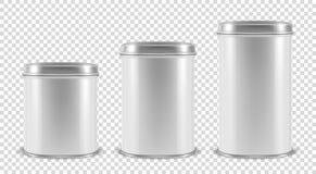 Dirigez 3d le métal vide blanc réaliste Tin Can Container Set Closeup d'isolement sur le fond transparent Descripteur de concepti illustration stock