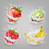 Dirigez 3d les baies réalistes, fruits en lait illustration de vecteur