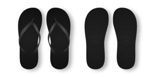 Dirigez 3d réaliste Flip Flop Set Closeup Isolated vide vide noir sur le fond blanc Calibre de conception d'été illustration libre de droits