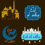 Dirigez Eid Al Adha appelé par vacances/festival de label de sacrifice composition de lettrage de mois saint musulman avec la mos Images libres de droits