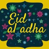 Dirigez Eid Al Adha appelé par vacances/festival de label de sacrifice composition de lettrage de mois saint musulman avec la mos Photos stock