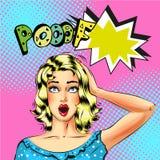Dirigez femme blonde d'art de bruit la belle avec la bulle de la parole de Pooof illustration de vecteur