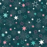 Dirigez gris, bleu, dentelez les flocons de neige tirés par la main de christmass et les étoiles répètent le fond sans couture de Images libres de droits