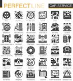 Dirigez icônes de concept de noir de service de voiture les mini et l'ensemble de symboles infographic illustration libre de droits
