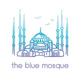 Dirigez illustration au trait de la mosquée bleue à Istanbul, Turquie Image stock