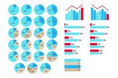 Dirigez Infographics des diagrammes de 5 à 95 pour cent, des flèches, croissance et des graphiques de chute d'isolement Image stock
