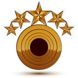 Dirigez l'élément brillant glorieux de conception avec les étoiles d'or du luxe 3d Images libres de droits