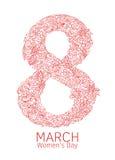 Dirigez l'élément décoratif tiré par la main avec le texte pour le design de carte de salutation du 8 mars Modèle floral de griff Photos stock