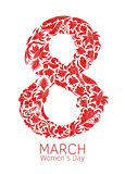 Dirigez l'élément décoratif tiré par la main avec le texte pour le design de carte de salutation du 8 mars Modèle floral de griff illustration stock