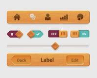 Dirigez l'élément en bois d'interface de comprimé du mobile APP, bouton Photographie stock