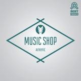 Dirigez l'élément, le label, l'insigne et la silhouette de logotype pour la boutique de musique illustration libre de droits