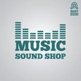 Dirigez l'élément, le label, l'insigne et la silhouette de logotype pour la boutique de musique illustration stock