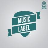 Dirigez l'élément, le label, l'insigne et la silhouette de logotype pour la boutique de musique illustration de vecteur