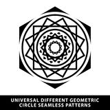 Dirigez l'élément noir et blanc d'étoile de modèle de cercle sans couture de tuile illustration de vecteur