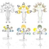 Dirigez l'éléphant et le papillon tirés par la main avec le modèle floral (eps10) Image libre de droits
