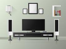 Dirigez l'étagère moderne minimaliste du blanc TV avec des livres Image libre de droits