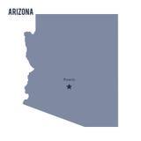 Dirigez l'état de carte de l'Arizona a isolé sur le fond blanc Photographie stock