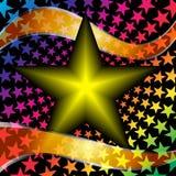 Dirigez l'étoile avec les rubans oranges sur un backgro noir Images libres de droits