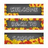 Dirigez l'accueil de nouveau aux bannières d'école avec des feuilles d'automne pour faire de la publicité et ventes D'isolement s illustration stock