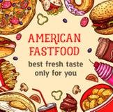Dirigez l'affiche d'aliments de préparation rapide des repas et des desserts Illustration Stock
