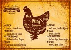 Dirigez l'affiche de couleur avec le poulet de coupe de diagramme détaillé Image libre de droits
