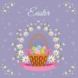 Dirigez l'affiche de Pâques avec le panier d'oeufs, fleurs Images libres de droits