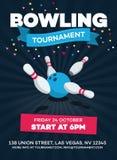 Dirigez l'affiche de tournoi de bowling avec la boule dispersée de quille et de bowling illustration de vecteur