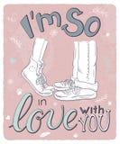 Dirigez l'affiche romantique tirée par la main avec étreindre des couples et la citation manuscrite de lettrage - je suis ainsi d Photo libre de droits