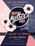 Dirigez l'affiche tirée par la main d'événement de jour de mères avec le texte de floraison de lettrage de main de fleurs d'anémo illustration de vecteur