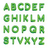 Dirigez l'alphabet latin de lettres vertes d'art d'isolement sur le fond blanc Illustration de vecteur d'alphabet anglais d'échan illustration stock