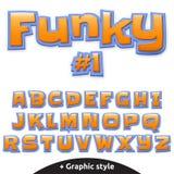 Dirigez l'alphabet mignon pour des enfants dans le style de bande dessinée majuscule Illustration Stock