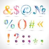 Dirigez l'alphabet peint à la main d'aquarelle, éléments d'éclaboussure conçoivent, des symboles Photographie stock