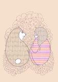 Dirigez l'amitié d'offre de raton laveur de fille et d'ours de nounours Photographie stock libre de droits