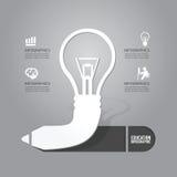 Dirigez l'ampoule avec le concept d'icône de crayon de l'idée Conception Photo stock