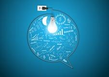 Dirigez l'ampoule créative avec les affaires s de dessin Photo stock