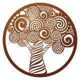 Dirigez l'arbre de pochoir dans le cadre rond avec le modèle à jour découpé Photos libres de droits