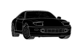 Dirigez l'aspiration d'une voiture de sport plate avec les lignes noires photos libres de droits