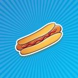 Dirigez l'autocollant américain de hot dog de bande dessinée sur le fond bleu Photographie stock libre de droits