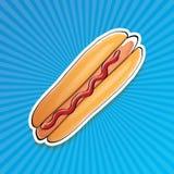 Dirigez l'autocollant américain de hot dog de bande dessinée sur le fond bleu Photos libres de droits