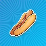 Dirigez l'autocollant américain de hot dog de bande dessinée sur le fond bleu illustration libre de droits