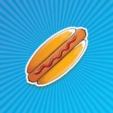 Dirigez l'autocollant américain de hot dog de bande dessinée sur le fond bleu Affiche de hot-dog de vintage ou collection d'éléme Photos stock