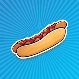 Dirigez l'autocollant américain de hot dog de bande dessinée sur le fond bleu Affiche de hot-dog de vintage ou collection d'éléme Images stock