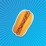 Dirigez l'autocollant américain de hot dog de bande dessinée sur le fond bleu Affiche de hot-dog de vintage ou collection d'éléme Photo libre de droits