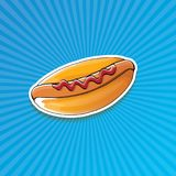 Dirigez l'autocollant américain de hot dog de bande dessinée sur le fond bleu Affiche de hot-dog de vintage ou collection d'éléme Image stock