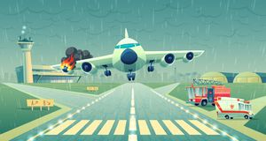 Dirigez l'avion d'atterrissage de mayday sur la bande, accident illustration libre de droits