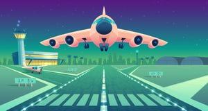 Dirigez l'avion de ligne blanche de bande dessinée, jet au-dessus de piste illustration stock