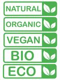 Dirigez l'eco, calibres organiques et bio de cartes de logo Sains manuscrits mangent des ic?nes r?gl?es Vegan, nourriture naturel illustration libre de droits