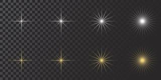 Dirigez l'effet de la lumière rougeoyant, la fusée, explosian et des étoiles Effet réglé de Special sur le fond transparent blanc illustration de vecteur