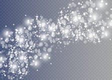 Dirigez l'effet en baisse de neige d'isolement sur le fond transparent avec le bokeh brouillé Images stock